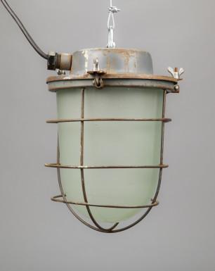 Russian Glass Lizard | Soviet Steel-plated Light Fixture With Milk Glass Dome