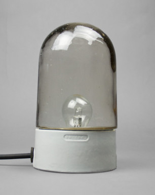True Oyster | Bauhaus Style Porcelain And Glass Lamp With Straight Base