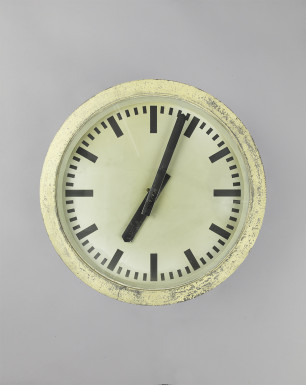 Yellow Cuckoo | Round industrial clock