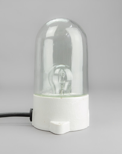 Little Saddle Oyster | Porcelain and glass lamp with straight base and two hubs
