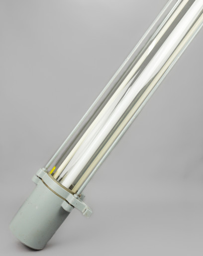 Skinny Black Rhino | Industrial Fluorescent Fixture With Glass Tube