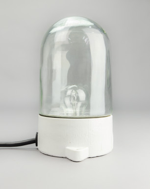 Saddle Oyster | Porcelain and Glass Lamp With Straight Base