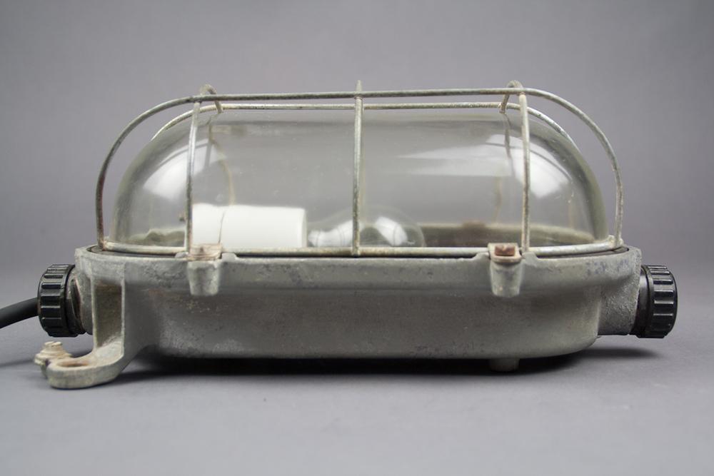 Slender Turtle   Medium-sized Bulkhead Lamp With A Slender Cage
