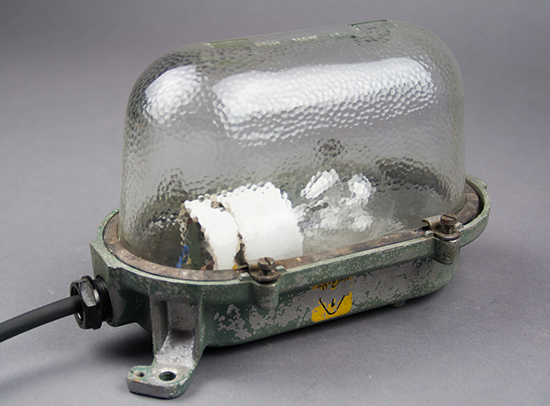 Box Turtle   Small Bulkhead Lamp With An Elevated Glass Cover