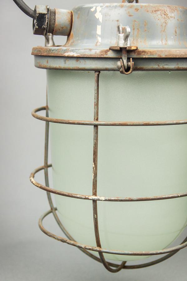 Russian Glass Lizard   Soviet Steel-plated Light Fixture With Milk Glass Dome