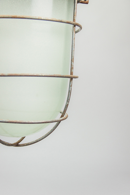 Russian Glass Lizard | Soviet Steel-plated Light Fixture With Milk Glass Dome