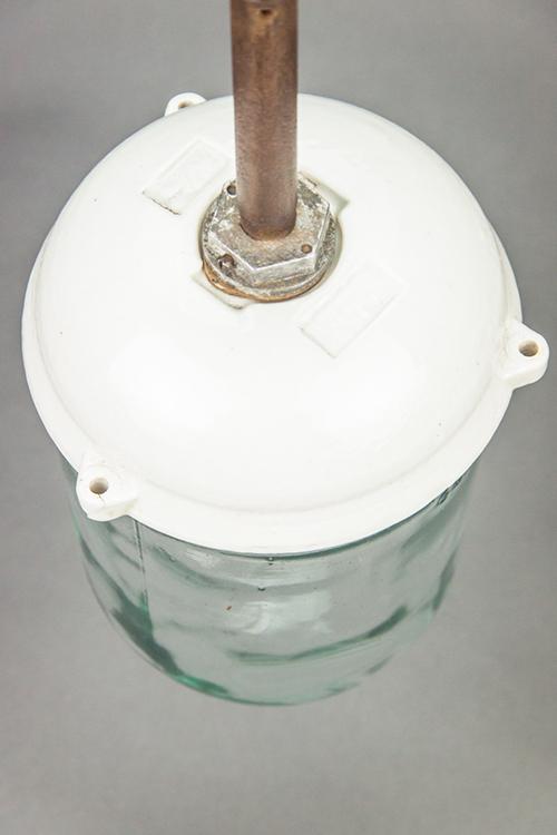 Nautilus   Bauhaus Style Porcelain and Glass Pendant Light