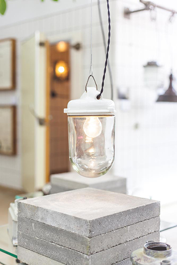 Mussel| Large Bauhaus Style Pendant Porcelain And Glass Light