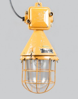 Conical well-glass pendant light with cast aluminium connection box